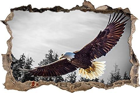 Pixxprint 3D_WD_5278_92x62 großer fliegender Adler Wanddurchbruch 3D Wandtattoo, Vinyl, schwarz / weiß, 92 x 62 x 0,02 cm