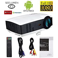 Proiettore Full HD, Proiettori LED 3200 lumen 1080P proiettore video portatile proiettore LCD Home Cinema Supporto 1920 * 1080 Android HDMI VGA USB SD per Home Cinema, PS4, Nintendo Switch, Xbox One, Netflix, Movistar Plus - Confronta prezzi