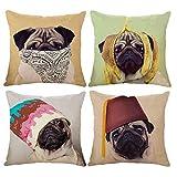 InsideOut 4 Stück Kissenbezüge, dekorativ, aus Leinen, Home Staging, Airbnb, Leinen, 45 x 45 cm, lustige Hunde für Sofa oder Sofa im Haus, Schlafzimmer, Wohnzimmer, Kissenbezug quadratisch