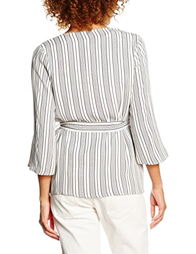 New Look Damen Top Alfie Belted Weiß - White (White Patterned)