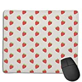 Mouse Pad Sweet Strawberry Seamless Art Rectangle Rubber Mousepad 8.66 X 7.09 Inch Gaming Mouse Pad with Black Lock Edge