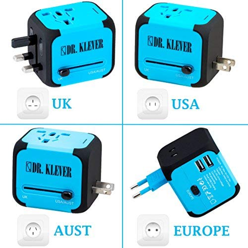 Dr. Klever International Travel Adapter - Works in 150 Countries Worldwide! 2 x USB Ports, 4 x Power Socket Types, and 4 Wall Plug Types. Adaptor comes with Built-in Spare Fuse and Free Travel Bag!