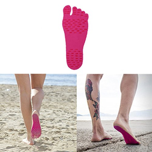 CGT Soft Adhesive Barefoot Beach Invisible Shoes Sticker Waterproof Feet Soles Protection Sticker for Walking, Beach and Water Sports Flexible Feet Protection- insoles Waterproof Adhesive Pads. SIZE: M