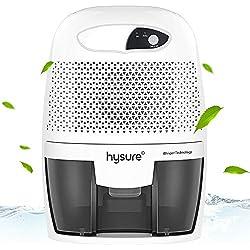 hysure 500ml Déshumidificateur Retire 250ml/jour, Réservoir d'eau 500ml Détachable, Absorbeur d'Humidité Électrique, Pas Besoin de Recharge, Arrêt Automatique, Silencieux, Portable