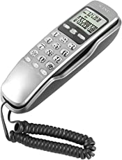 ASHATA Wandtelefon Schnurtelefon, LCD Schnurgebundenes Telefon FSK/DTMF Dual Anrufer ID Kompakttelefon,Multifunktion Schnurgebundenes Analog Telefon für Hause Büro usw.(Weiß)