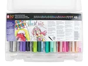 Sakura XBR-48SA 48-Piece Koi Assorted Coloring Brush Pen Set by Sakura of America