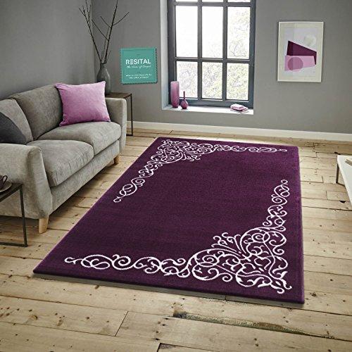 Savoy Läufer Bettumrandung im Modernen Design Teppich Florhöhe 11 mm Farbe Lila Größe: 80x150 cm