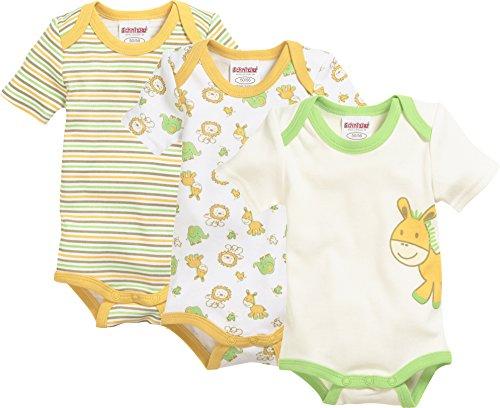Schnizler Unisex Baby Body Kurzarm, 3er Pack Dschungel, Oeko-Tex Standard 100, Mehrfarbig (Original 900), 86 (Herstellergröße: 86/92)