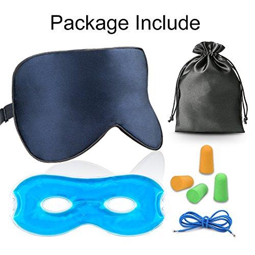Antifaz para Dormir, AJOXEL Antifaz de Gel para Mujer Hombre con Gel Frío Cómoda Máscara de Ojos con Ajustable Correa100% Anti-Luz Opaca de Seda con Tapón de oído y Bolsa de Viaje para Dormir