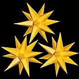 3er Set beleuchtete Sterne aus Papier, Gelb komplett, Sternschmiede (Art.Nr.321) inkl. Netzteil mit 3-fach-Verteiler, Fenster-Clip und Distanz-Stab, Durchmesser 19 cm, Papier, komplett handgefertigt, für den Innenbereich