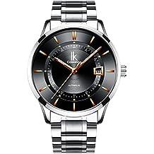 Alienwork Reloj Mecánico Automático Relojes Automáticos Hombre Mujer Acero Inoxidable Plata Analógicos Unisex Calendario ...
