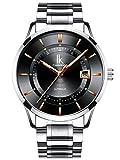 Alienwork Automatik Armbanduhr Herren Damen Uhr Edelstahl Armband Metallarmband Metallband silber Automatikuhr Herrenuhr Damenuhr Kalender schwarz