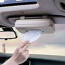 MEIBEI Pare Soleil de Voiture Support de Boîte à Mouchoirs PU Cuir,Serviette Housse en Papier pour Voiture Automobile Bureau à Domicile