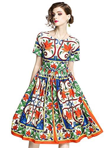 94e96e20d84ff1 LAI MENG Women s Summer Casual Sleeveless Floral Printed Pleated Swing  Dress Sundress