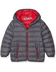 CMP plumífero para joven, otoño/invierno, niño, color Asphalt/Ferrari, tamaño 164