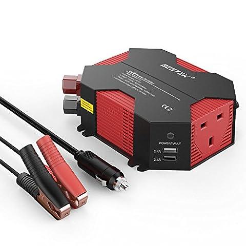 BESTEK 400W Car Charger Power Inverter DC 12V to AC 230V 240V Converter with UK Outlet Socket and 4 USB Ports Auto Adapter Power