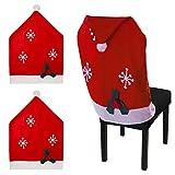 Urhome® Stuhlhusse für Weihnachten aus Filz | 2er Set I Elegante Husse als Weihnachtsdeko | Deko Stuhlschoner für Weihnachten Stuhlhülle | Weihnachtsmützen Stuhlüberzug