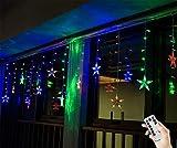 BLOOMWIN Lichtervorhang Stern 3 * 0.65M Bunt, 120LED 220V 8Modi Girland Star Curtain Fairy Light Weihnachtsbeleuchtung Fensterdeko für Innen, Wand, Fenster, Tür [Energieklasse A]
