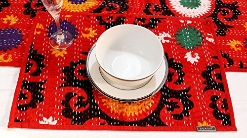 Agasvi Cotton Placemats and Table runner Red Suzani Print with Hand Embriodered...