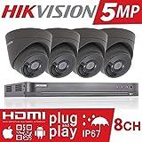 5MP Hikvision Caméra de vidéosurveillance Système de sécurité Full HD 4K Turbo DVR 8CH 8canaux HD Tvi H.265+ 1TB 2TB 3TB 4TB 6TB Hik 5MP 2.8mm dôme tourelle 4x Caméra Intérieur/extérieur Vision nocturne à 40m Exir Smart IR Caméras Home Office kit P2P App vendeur britannique Ds-7208huhi-k1Ds-2ce56h1t-it3e