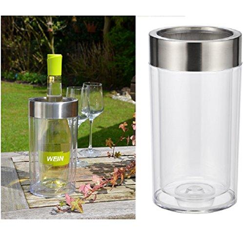 Weinkühler Flaschenkühler aus Kunststoff doppelwandig Höhe 23cm Edelstahlring -