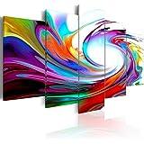 Cuadro 200x100 cm - 3 tres colores a elegir - 5 Partes - Formato Grande - Impresion en calidad fotografica - Cuadro en lienzo tejido-no tejido - abstracci�n 020101-234 200x100 cm B&D XXL