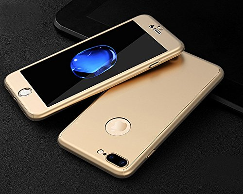 Coque iPhone 7 Plus, iPhone 7 Plus Coque 360 Degres, SainCat Ultra Slim Full Protection 360 Coque Cover pour iPhone 7 Plus, Coque en Plastique 360 Degres Avant et Arriere Full Body Ultra Resistante Fu Or #1
