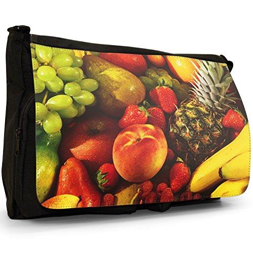 Fancy A Bag Borsa Messenger nero Tasty Fresh Cut Orange Slices Fruit Of The Tropics Pineapple Coconut Grapes