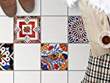 creatisto Dekofliesen, Badezimmerfliesen | Bodenfliesen Sticker Aufkleber Folie Bad Küche Kühlschranksticker Baddeko | 33,3x33, Muster Ornament Portugiesische Fliesen - 4 Stück