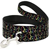 Buckle Down dl-w31623Peace Herz schwarz/Rainbow Ombre Pet Leine, 4'lang–2,5cm breit