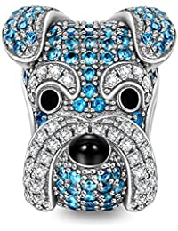 NINAQUEEN Women Bead Charms Puppy for Animals Lover as Schnauzer Knight 925 Sterling Silver, Happy Family Series, Christmas Gifts, Come with a Gift Packaging, Nickel-free, Passed SGS