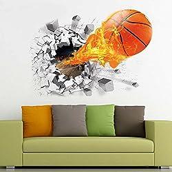 zooarts 3d fuego de baloncesto de pared extraíble pegatinas de pared Arte decoración adhesivos para niños habitación vinilo Mural