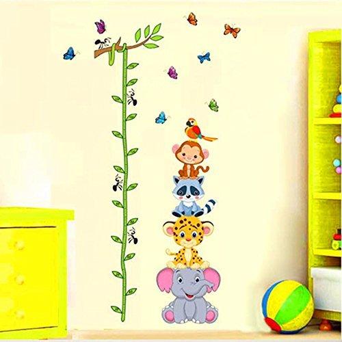 ufengke® Comic-Tiere Cute Waschbär Affen Elefanten Leoparden und Baum Reben Messlatten Wandsticker, Kinderzimmer Babyzimmer Entfernbare Wandtattoos Wandbilder