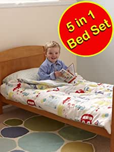All Aboard Adventure Gro To Bed Cotbed Junior Bedding Set + Duvet & Pillow
