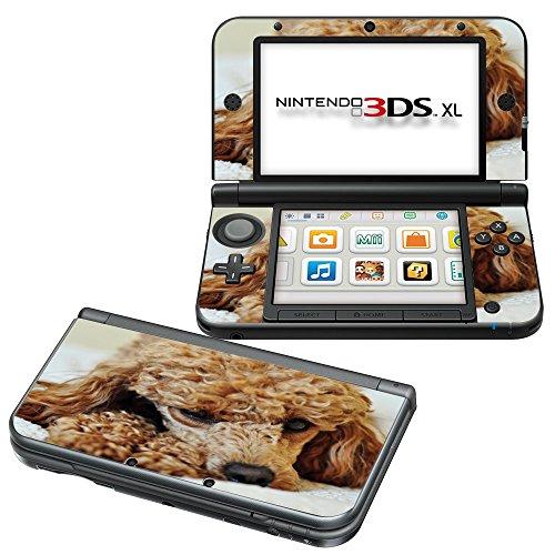 Hunde 075, Niedlichen Pudel, Design folie Sticker Skin Aufkleber Schutzfolie mit Farbenfrohe Design für Nintendo 3DS XL (2012) (Niedlichen Pudel)