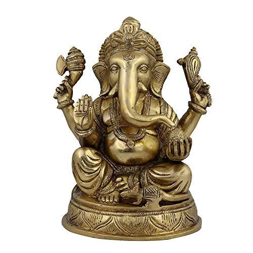 Religious Statue Ganesha Idol Hindu Decor Figurine; Brass; 7.5 Inches,Diwali Festive Gifts. (Religiou Statue)