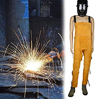 Awtang Welder overalls breathable wear-resistant anti-scalding knee protection leg flame retardant leather welding protective clothing cow leather and adjustable size