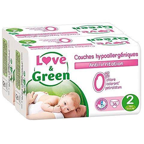 Love & Green - Couches Bébé Hypoallergéniques 0% - Taille 2 (3-6 kg) - Lot de 2 x 36 couches (72 couches)