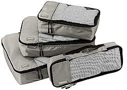 AmazonBasics Kleidertaschen-Set, 4-teilig, je 1 kleine, mittelgroße, große und schmale Packtasche, Grau
