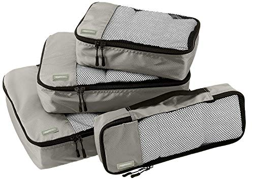 AmazonBasics Packing Cubes/Travel Pouch/Travel Organizer - Small, Medium, Large, and Slim, Grey (4-Piece Set)