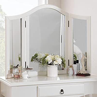 Romance dressing table mirror. Stunning large 3-way mirror. Available in Antique or True white