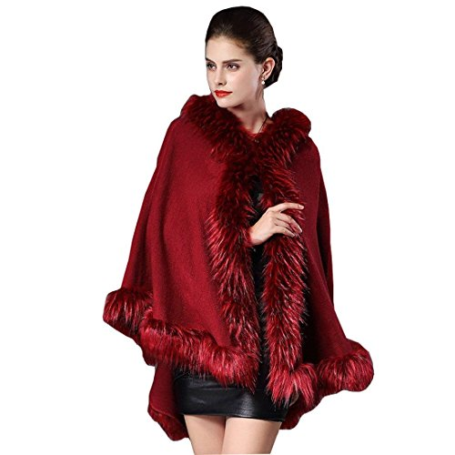 Mantella con cappuccio donna autunno invernali poncho in pelliccia eleganti moda casual cardigan monocromo classiche unique con collo in pelliccia sintetica cappotto poncho donne