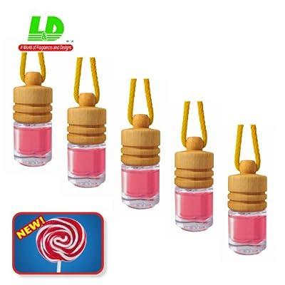 Lot de 5élégant Parfum flacons pour Auto-Lollipop 25ml-39,60EUR/100ml Parfum Voiture Parfum coton