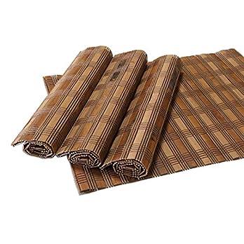 4er Set Bambus Tischsets, Platzsets, Handgefertigt Platzdeckchen, umweltfreundlich für Dekoration und Schutz, 40x30cm, natürlich dunkel