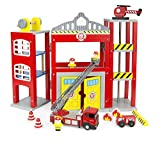 Leomark Big Children's Kids Wooden Fire Station Play Set with Fire Engine Accessories Wooden Firefighters Helicopter Moving Rotary Elevator