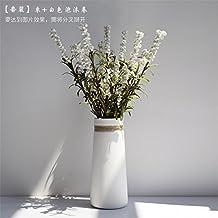 maivas moderno Simple blanco cerámica seco flores jarrón decorativo para sala de estar? Creative Home, cuerda de cáñamo
