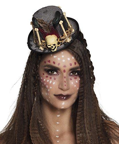narrenkiste B72182 schwarz Damen Voodoo Hut-Haarreif Steampunk Zylinder mit Knochen