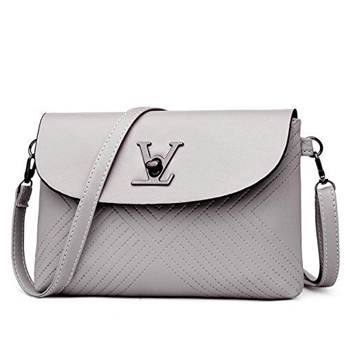 Preisvergleich Produktbild FXTKU 2018 Damen bestickt einfache Dinner-Party Mode kleine Sperre Handgelenk Umhängetasche Handtaschen Crossbody Taschen(Grau)