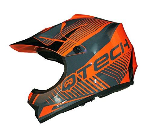 Kinder MOTOCROSS MX Helm MX BMX Quad ATV Motorradhelm Motorrad - Orange - S (53-54cm)