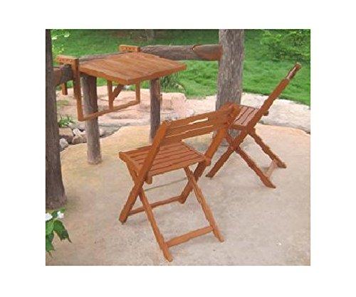 Tavoli Da Giardino Pieghevoli In Legno.Jardinion Set Balcone Tavolo Da Appendere E Due Sedie Pieghevoli